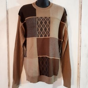 Modango Men's Brown Checked Italian Sweater Large